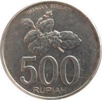 reverse of 500 Rupiah (2003 - 2008) coin with KM# 67 from Indonesia. Inscription: BUNGA MELATI 500 RUPIAH