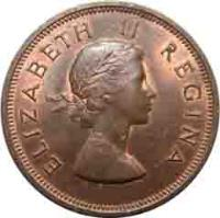 obverse of 1 Penny - Elizabeth II - 1'st Portrait (1953 - 1960) coin with KM# 46 from South Africa. Inscription: ELIZABETH II REGINA