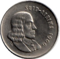obverse of 5 Cents - SUID-AFRIKA (1965 - 1969) coin with KM# 67.2 from South Africa. Inscription: SUID-AFRIKA 1966 T.S.