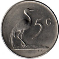 reverse of 5 Cents - SUID-AFRIKA (1965 - 1969) coin with KM# 67.2 from South Africa. Inscription: 5c T.S.