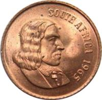 obverse of 2 Cents - SOUTH AFRICA (1965 - 1969) coin with KM# 66.1 from South Africa. Inscription: SOUTH AFRICA 1965 T.S.