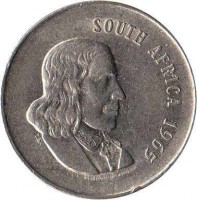 obverse of 20 Cents - SOUTH AFRICA (1965 - 1969) coin with KM# 69.1 from South Africa. Inscription: SOUTH AFRICA 1965 T.S.