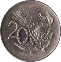 reverse of 20 Cents - SOUTH AFRICA (1965 - 1969) coin with KM# 69.1 from South Africa. Inscription: 20 T.S.