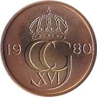 obverse of 5 Öre - Carl XVI Gustaf (1976 - 1981) coin with KM# 849 from Sweden. Inscription: 19 CG 80 XVI