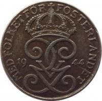 obverse of 1 Öre - Gustaf V (1942 - 1950) coin with KM# 810 from Sweden. Inscription: MED FOLKET FÖR FOSTERLANDET 19 44