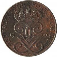 obverse of 5 Öre - Gustaf V (1942 - 1950) coin with KM# 812 from Sweden. Inscription: MED FOLKET FÖR FOSTERLANDET 19 50