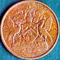 obverse of 1 Cent - Elizabeth II (1966 - 1973) coin with KM# 1 from Trinidad and Tobago. Inscription: TOGETHER WE ASPIRE TOGETHER WE ACHIEVE