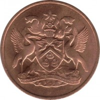 obverse of 5 Cents - Elizabeth II (1966 - 1972) coin with KM# 2 from Trinidad and Tobago.