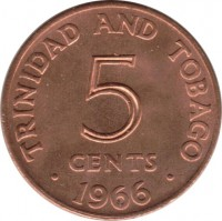 reverse of 5 Cents - Elizabeth II (1966 - 1972) coin with KM# 2 from Trinidad and Tobago. Inscription: TRINIDAD AND TOBAGO 5 CENTS . 1966 .