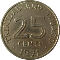 reverse of 25 Cents - Elizabeth II (1966 - 1972) coin with KM# 4 from Trinidad and Tobago.