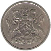 obverse of 10 Cents - Elizabeth II (1966 - 1972) coin with KM# 3 from Trinidad and Tobago.