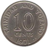 reverse of 10 Cents - Elizabeth II (1966 - 1972) coin with KM# 3 from Trinidad and Tobago. Inscription: TRINIDAD AND TOBAGO 10 CENTS 1966