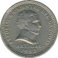 obverse of 10 Centésimos (1953 - 1959) coin with KM# 35 from Uruguay. Inscription: REPÚPBLICA ORIENTAL DEL URUGUAY .ARTIGAS. 1953
