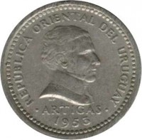 obverse of 2 Centésimos (1953) coin with KM# 33 from Uruguay. Inscription: REPUBLICA ORIENTAL DEL URUGUAY ARTIGAS 1953