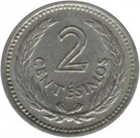 reverse of 2 Centésimos (1953) coin with KM# 33 from Uruguay. Inscription: 2 CENTÉSIMOS