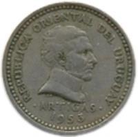 obverse of 5 Centésimos (1953) coin with KM# 34 from Uruguay. Inscription: REPUBLICA ORIENTAL DEL URUGUAY . ARTIGAS . 1953