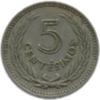 reverse of 5 Centésimos (1953) coin with KM# 34 from Uruguay. Inscription: 5 CENTÉSIMOS