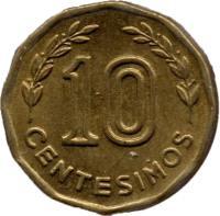 reverse of 10 Centésimos (1976 - 1981) coin with KM# 66 from Uruguay. Inscription: 10 CENTESIMOS