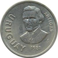 obverse of 10 Nuevos Pesos (1981) coin with KM# 79 from Uruguay. Inscription: URUGUAY ARTIGAS So 1981