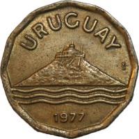 obverse of 20 Centésimos (1976 - 1981) coin with KM# 67 from Uruguay. Inscription: URUGUAY So 1976