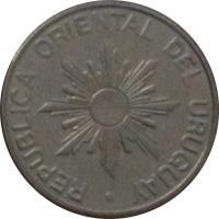 obverse of 5 Nuevos Pesos (1989) coin with KM# 92 from Uruguay. Inscription: REPUBLICA ORIENTAL DEL URUGUAY ·