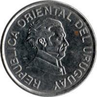 obverse of 50 Centésimos (1994 - 2008) coin with KM# 106 from Uruguay. Inscription: REPUBLICA ORIENTAL DEL URUGUAY