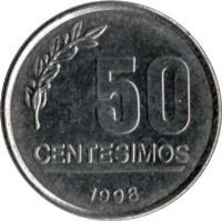 reverse of 50 Centésimos (1994 - 2008) coin with KM# 106 from Uruguay. Inscription: 50 CENTESIMOS 1994