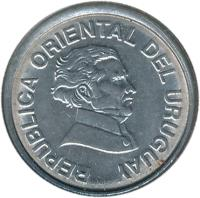 obverse of 20 Centésimos (1994) coin with KM# 105 from Uruguay. Inscription: REPUBLICA ORIENTAL DEL URUGUAY