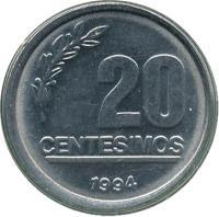 reverse of 20 Centésimos (1994) coin with KM# 105 from Uruguay. Inscription: 20 CENTESIMOS 1994