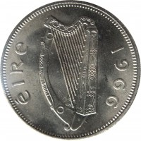 obverse of 1 Florin (1951 - 1969) coin with KM# 15a from Ireland. Inscription: éIRe 1966