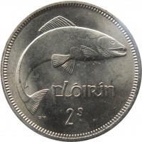 reverse of 1 Florin (1951 - 1969) coin with KM# 15a from Ireland. Inscription: fLóirin PM 2s