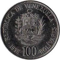 reverse of 100 Bolívares (1998 - 1999) coin with Y# 78 from Venezuela. Inscription: REPUBLICA DE VENEZUELA 1999 100 BOLIVARES