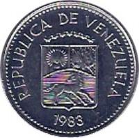 obverse of 5 Céntimos (1983) coin with Y# 49a from Venezuela. Inscription: REPUBLICA DE VENEZUELA 1983