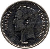 obverse of 25 Céntimos (1989 - 1990) coin with Y# 50a from Venezuela. Inscription: BOLIVAR LIBERTADOR BARRE