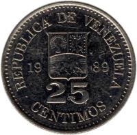 reverse of 25 Céntimos (1989 - 1990) coin with Y# 50a from Venezuela. Inscription: REPUBLICA DE VENEZUELA 19 90 25 CENTIMOS