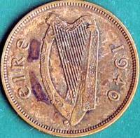 obverse of 1 Pingin (1940 - 1968) coin with KM# 11 from Ireland. Inscription: éIRe 1968