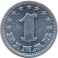 reverse of 1 Dinar - SFR legend (1963) coin with KM# 36 from Yugoslavia. Inscription: 1 DINAR 1963