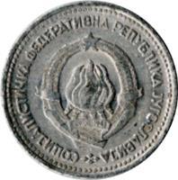 obverse of 5 Dinara - SFR legend (1963) coin with KM# 38 from Yugoslavia. Inscription: COЦИЈAЛИCTИЧKA ФЕДЕРАТИВHА РЕПУБЛИКА JУГОСЛАВИJА