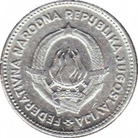 obverse of 50 Para (1953) coin with KM# 29 from Yugoslavia. Inscription: FEDERATIVNA NARODNA REPUBLIKA JUGOSLAVIJA 29 · XI · 1943