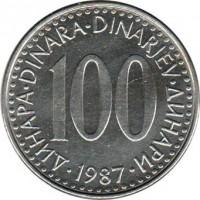 reverse of 100 Dinara (1985 - 1988) coin with KM# 114 from Yugoslavia. Inscription: ДИНАРА · DINARA · DINARJEV · ДИНАРИ 100 · 1988 ·