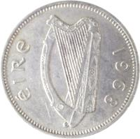 obverse of 1 Shilling (1951 - 1968) coin with KM# 14a from Ireland. Inscription: éIRe 1968