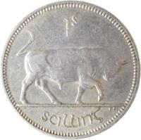 reverse of 1 Shilling (1951 - 1968) coin with KM# 14a from Ireland. Inscription: 1s scilling