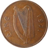 obverse of 2 Pingin (1971 - 1988) coin with KM# 21 from Ireland. Inscription: éIRe 1971