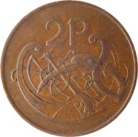 reverse of 2 Pingin (1971 - 1988) coin with KM# 21 from Ireland. Inscription: 2P