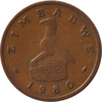 obverse of 1 Cent (1980 - 1988) coin with KM# 1 from Zimbabwe. Inscription: ZIMBABWE 1980