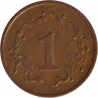 reverse of 1 Cent (1980 - 1988) coin with KM# 1 from Zimbabwe. Inscription: 1