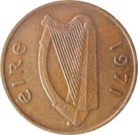 obverse of 1 Pingin (1971 - 1988) coin with KM# 20 from Ireland. Inscription: éIRe 1971
