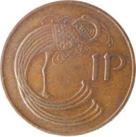 reverse of 1 Pingin (1971 - 1988) coin with KM# 20 from Ireland. Inscription: 1P