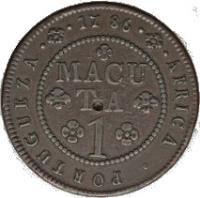reverse of 1 Macuta - Maria I & Pedro III (1783 - 1786) coin with KM# 20 from Angola. Inscription: AFRICA · PORTUGUEZA · 1786 MACUTA 1