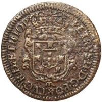 obverse of 5 Réis - Pedro II (1695 - 1696) coin with KM# 3 from Angola. Inscription: PETRVS · II · D · G · PORTVG · R · D · ÆTHIOP
